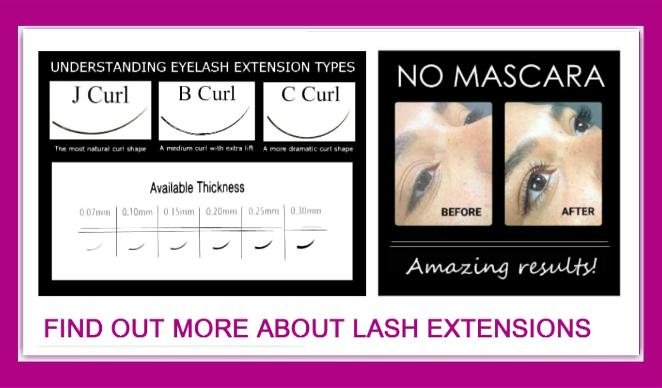 Individual Eyelash Extensions curl types